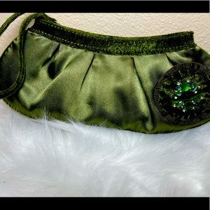 Beautiful green clutch with detachable brooch